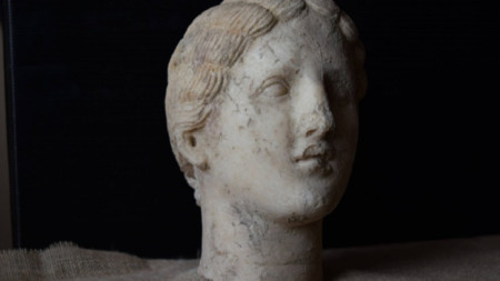 Marble female head found during the excavations of the ancient city of Heraclea Sintica in October 2018