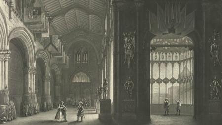"""Сцена от първо действие на премиерния спектакъл на операта """"Пуритани"""", 1835 г."""