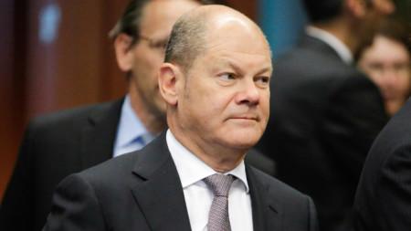 Германският министър на финансите Олаф Шолц.