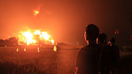 Пожарът в Балонган, Западна Ява.