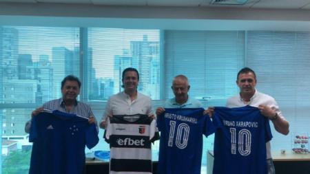 Христо Крушарски и Бруно Акрапович с шефовете на Крузейро