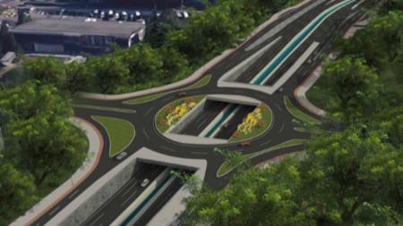 Така ще изглежда едно от кръговите кръстовища, които се изграждат в момента