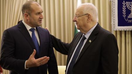 Президентите Румен Радев и Реувен Ривлин на срещата им в Ерусалим.