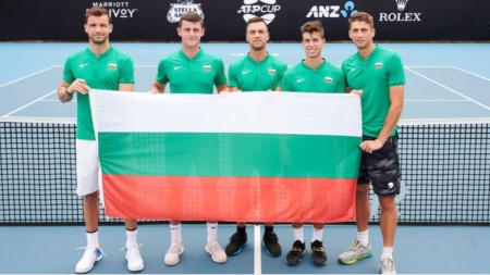 Das bulgarische Team in Sydney (v.l.n.r.): Grigor Dimitrov, Alexander Lazarov, Dimitar Kuzmanov, Alexander Donski und Adrian Andreev