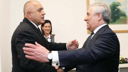 Бойко Борисов и Антонио Таяни на срещата им в Брюксел.