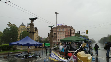 The camp of the protesters at Eagles' Bridge in Sofia after the heavy rainfall this afternoon