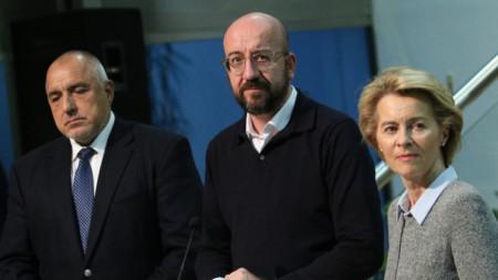 На Летище София пристигнаха премиерът Бойко Борисов, председателят на Европейската комисия Урсула фон дер Лайен и председателят на Европейския съвет Шарл Мишел,