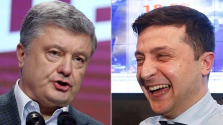 Петро Порошенко (вляво) и Володимир Зеленски след първия кръг на президентските избори в Украйна.
