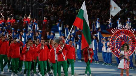 Българската делегация по време на Парада на нациите при откриването на Игрите