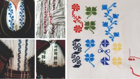 Alfatar bölgesine özgü geleneksel erkek gömleklerindeki nakış motiflerin orjinal işlemesi. 20. yy'ın başları. Foto: Dobriç