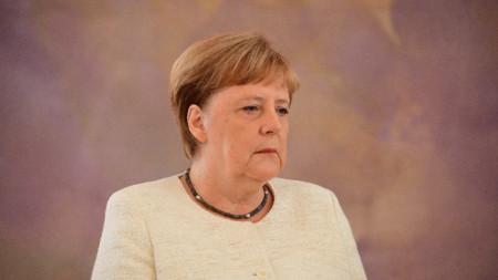 Ангела Меркел на церемонията в германското президентство в Берлин.
