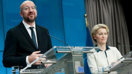 Пресконференция на Шарл Мишел и на Урсула фон дер Лайен