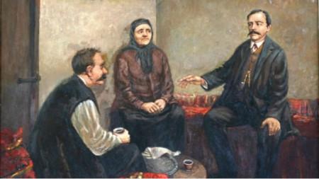 Das Treffen von Georgi Rakowski mit Tiho und Tonka Obretenowi in Russe. Maler: Al. Hristow, 1958