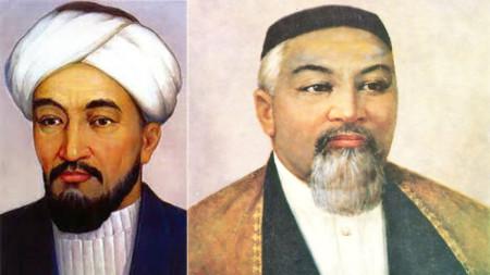 Ал-Фараби (вляво) и Абай Кунанбаев