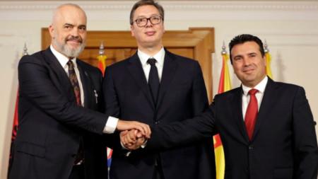 Еди Рама, Александър Вучич и Зоран Заев (от ляво надясно)