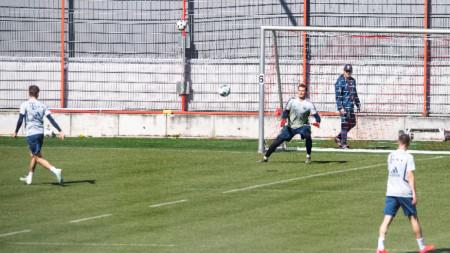Футболистите на Байерн по време на заниманието.