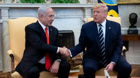 Бенямин Нетаняху с Доналд Тръмп в Белия дом.