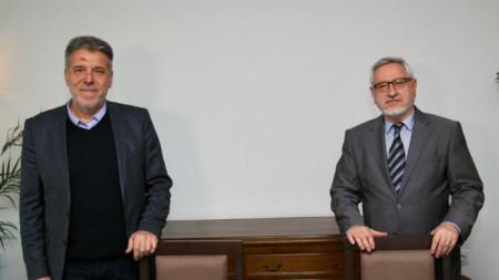 Драги Георгиев (вляво) с Ангел Димитров.