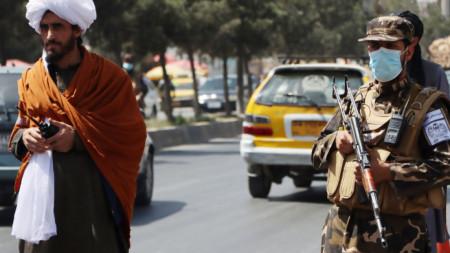 Талибани на контролно-пропускателен пункт в Кабул, 9 септември 2021 г.