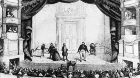 """Премиера на """"Дон Паскуале"""" в Театър Италиен, Франция, 1843 (гравюра)"""