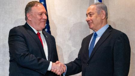 Държавният секретар на Съединените щати Майк Помпео и израелският премиер Бенямин Нетаняху в Лисабон.
