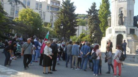 Снимката е от протест във  Велико Търново