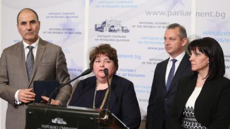 Цветан Цветанов, Ралица Негенцова, Димитър Георгиев, Цвета Караянчева (от ляво надясно)