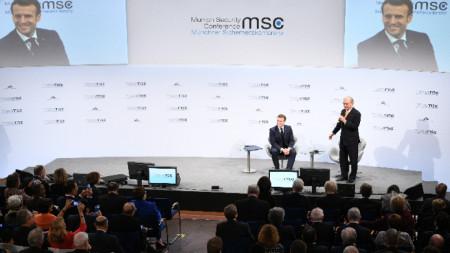 Президентът на Франция Еманюел Макрон на Мюнхенската конференция по сигурността.