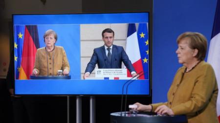 Видеоконферентен разговор на Ангела Меркел и Еманюел Макрон