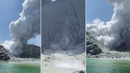 Повреден хеликоптер (в средата) в резултат на изригването на вулкана на новозеландския Бял остров.