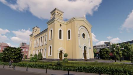 Визуалиция синагоги после ее восстановления и укрепления