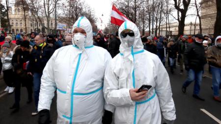 Протест срещу пандемичните мерки във Виена.