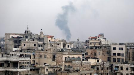 Изглед към Маарат ал Нуман, Идлиб, Северозападна Сирия.