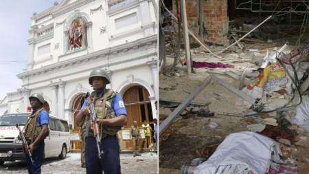 """Военни обезопасяват района около храма """"Св. Антони"""" в столицата Коломбо, в който избухна експлозия."""