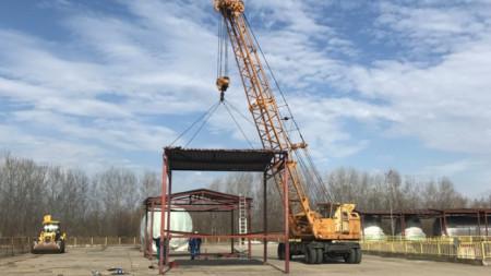 Част от процеса по изграждане на съоръженията, необходими за съхранение на доставеното оборудване за АЕЦ