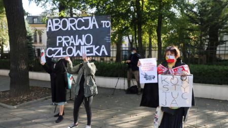 Протест във Варшава в защита на правото на аборт - 22 октомври 2020