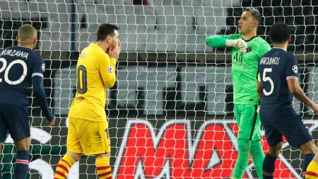 Реакциите на Меси и вратаря Навас след изпусната дузпа от звездата на Барса.