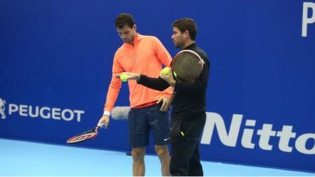 Димитров и Валверду по време на финалите на АТР в Лондон.