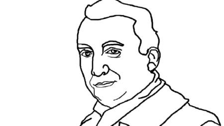 Скица портрет на Ролан Барт