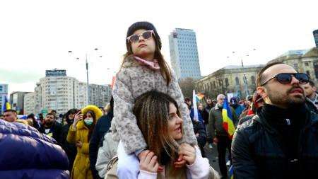 Протест срещу коронавирусните ограничения в Букурещ