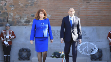 President Rumen Radev at the Monument to the Unknown Soldier in central Sofia