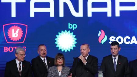 На официалното откриване присъстваха президентите на Азербайджан Илхам Алиев (вторият отдясно наляво) и на Турция Реджеп Ердоган (четвърти отляво надясно)