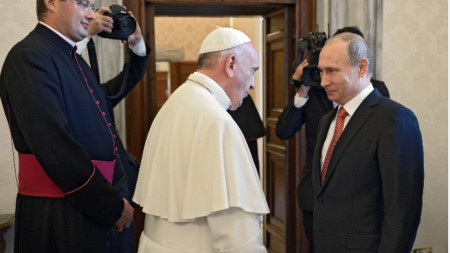 Папа Франциск и Владимир Путин във Ватикана през юни 2015