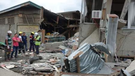 Разрушения на пазар в град Падада във филипинската провинция Южен Давао.