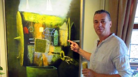 Художникът Атанас Хранов пред картината си