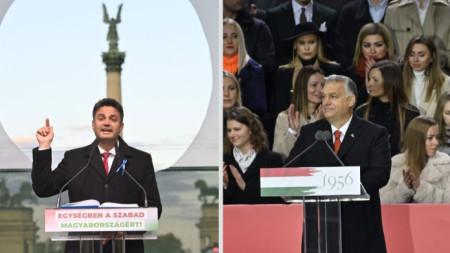 Петер Марки-Зай и Виктор Орбан  говорят на отделни митинги в Будапеща