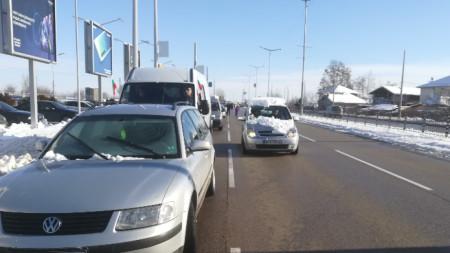 Протестът във Видин започна с автошествие.