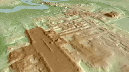 Триизмерно изображение на конструкцията, създадена от цивилизацията на маите между 1000 г. и 800 г. преди новата ера.
