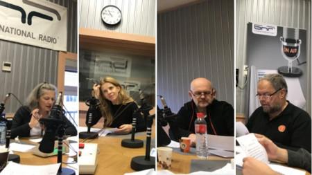 """Мая Бабурска, Линда Русева, Валентин Ганев и Иван Петрушинов по време на записа на предаването кабаре """"Фата Моргана"""""""