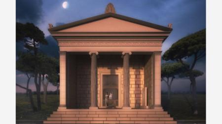 Възстановка на фасадата на храма на Кибела, направени според откритите артефакти